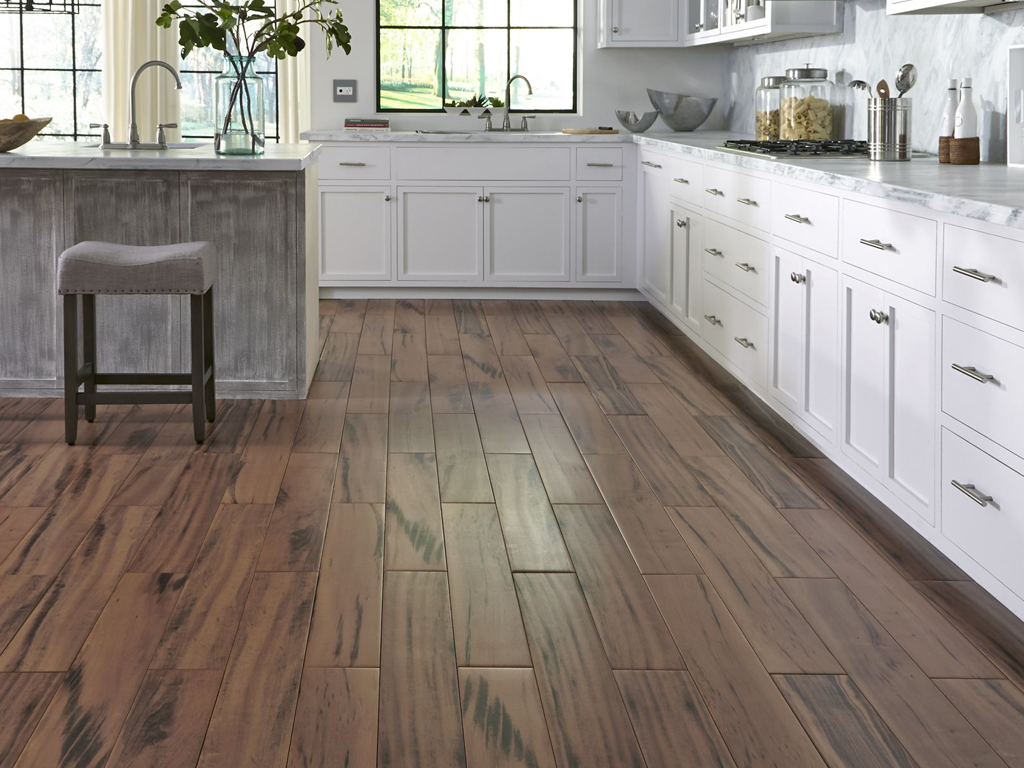 Kitchen with wood look tile